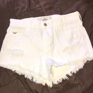 Hollister White Ripped Jean Shorts